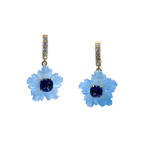 Small Carved Blue Quartzite Flower with Cushion Sapphire Dangle Earrings