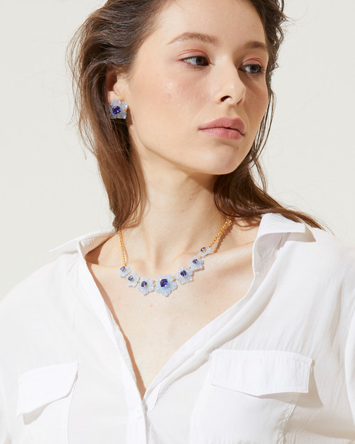 Carved Blue Quartzite Flower and Cushion-cut Sapphire Necklace