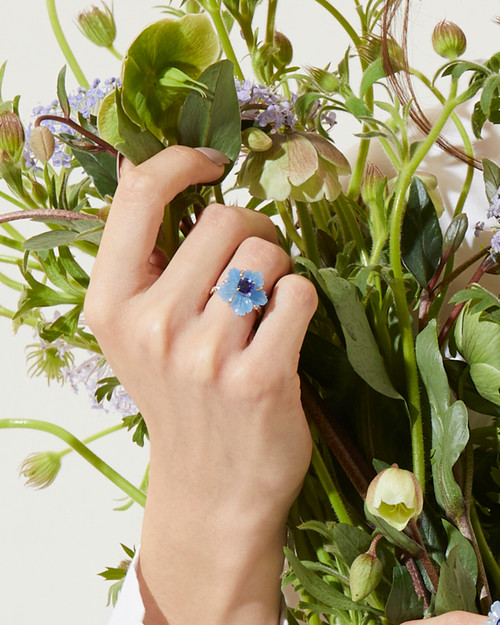Small Carved Blue Quartzite Flower and Cushion Sapphire Ring