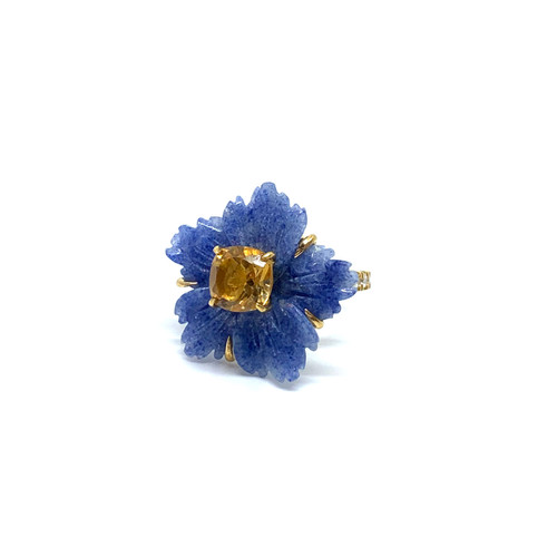 Small Carved Dumortierite Flower and Cushion Citrine Ring