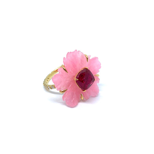 Carved Pink Quartzite Flower and Cushion Ruby Ring