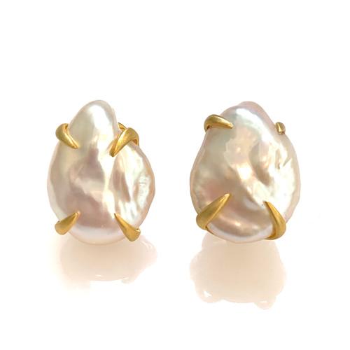 18mm Cultured Flat Baroque Pearl Vermeil Earrings