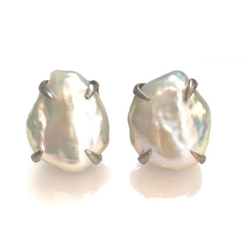18mm Cultured Flat Baroque Pearl Earrings