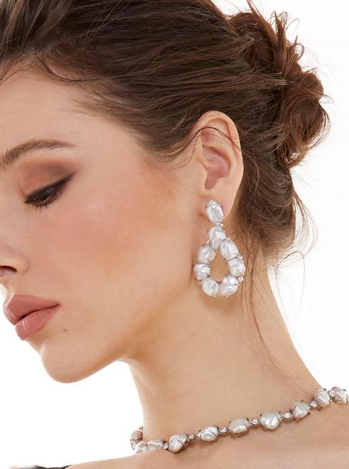 Keishi Pearl Open Pear Drop Earrings