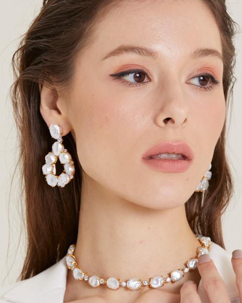 Keishi Pearl Open Pear Drop Vermeil Earrings