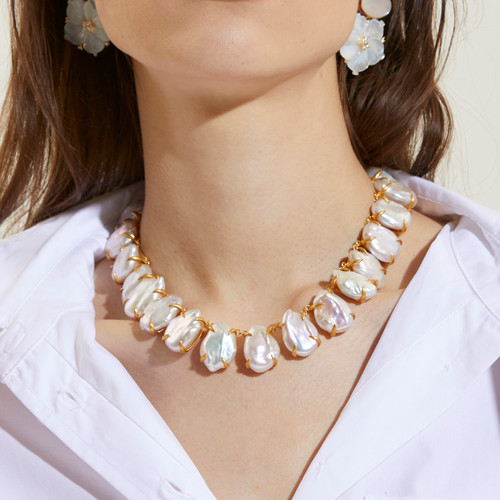 Large Cultured Flat Baroque Pearl Vermeil Necklace