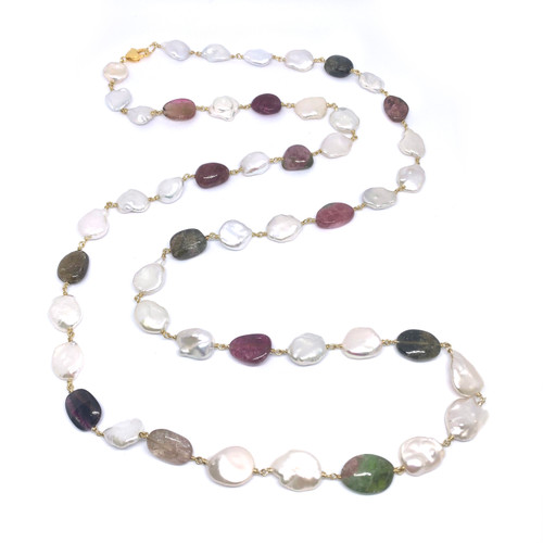 Cultured Keishi Pearl and Tumbled Tourmaline Long Vermeil Necklace