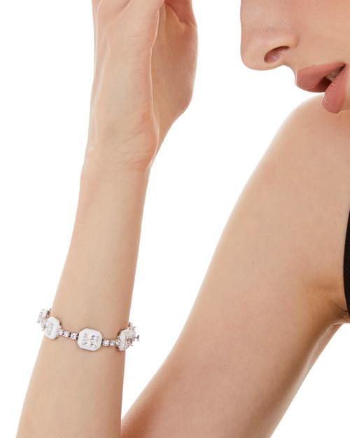 White Enamel Octagon Simulated Diamond Tennis Bracelet