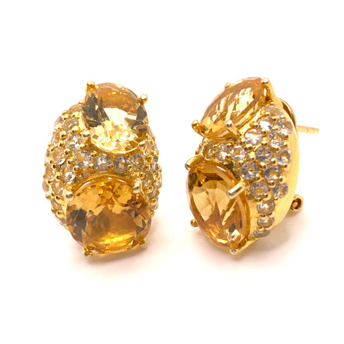 Double Oval Citrine and Pave White Topaz Vermeil Earrings