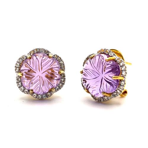 Carved Amethyst Flower Stud Earrings