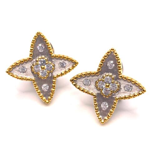 Clover-pattern Star-shape Two Tone Earrings