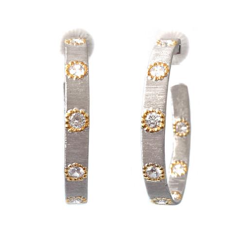 Medium Skinny Two-tone Hoop Earrings