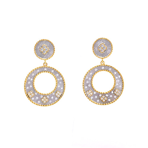 Small Clover-pattern Open Circle Two-tone Drop Earrings