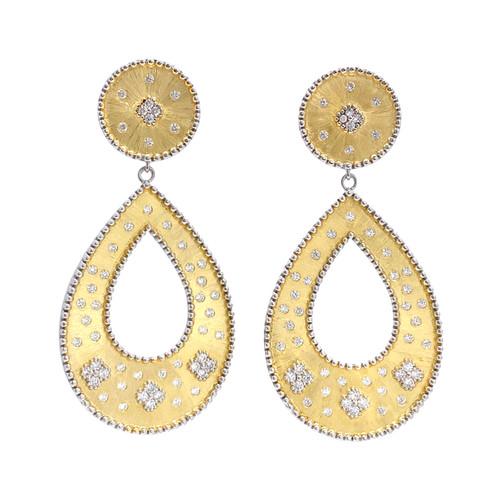 Clover-pattern Open Pear-shape Drop Vermeil Earrings