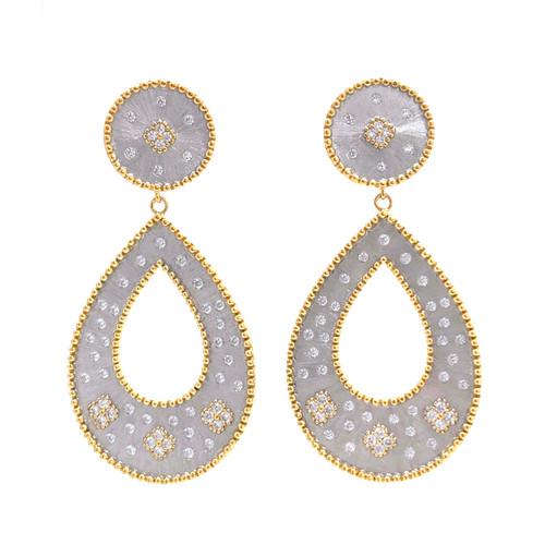 Clover-pattern Open Pear-shape Drop Two-tone Earrings
