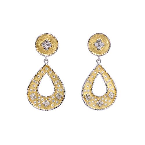 Small Clover-pattern Open Pear-shape Drop Vermeil Earrings