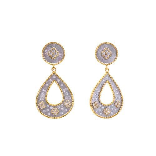Small Clover-pattern Open Pear-shape Drop Two-tone Earrings