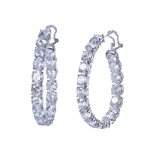 Large Simulated Diamond Hoop Earrings
