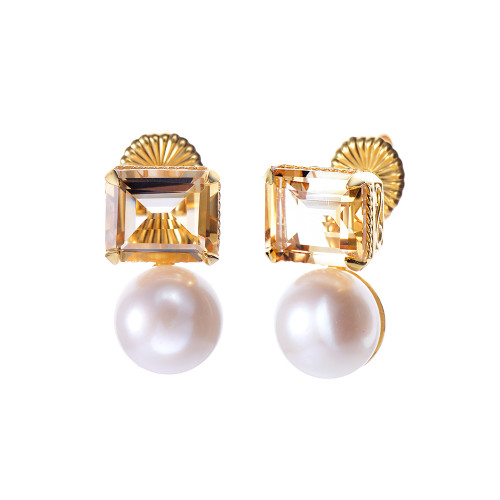 Octagon Citrine and Cultured Pearl Earrings