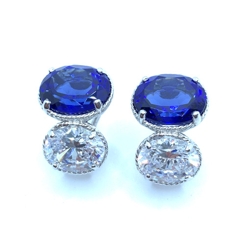 Double Oval Lab Sapphire and Simulated Diamond Earrings