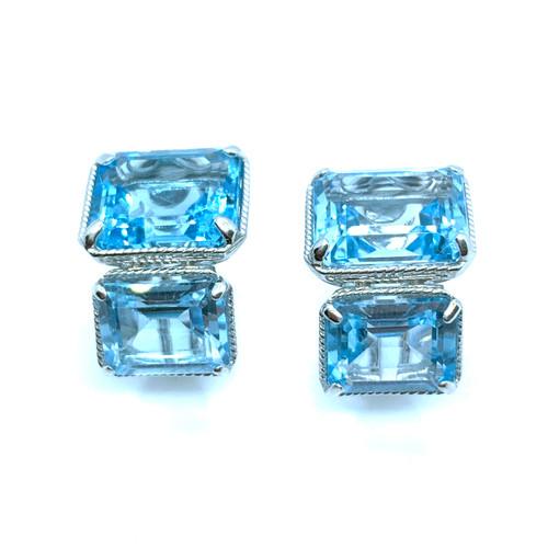Double Emerald-cut Blue Topaz Earrings