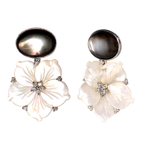 Oval Black Mother of Pearl and Carved Mother of Pearl Flower Drop Earrings