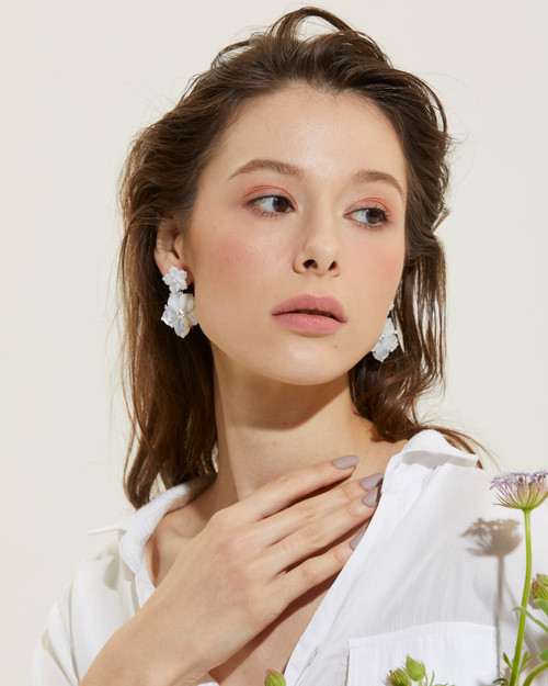 Double Carved Mother of Pearl Flower Drop Earrings