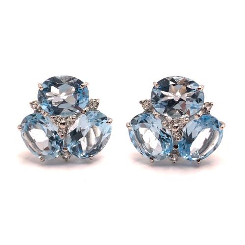 Triple Oval Blue Topaz Earrings