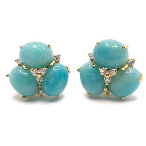 Triple Oval Amazonite Vermeil Earrings