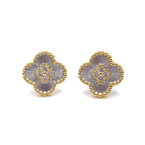 Clover Center Clover Two-tone Stud Earrings
