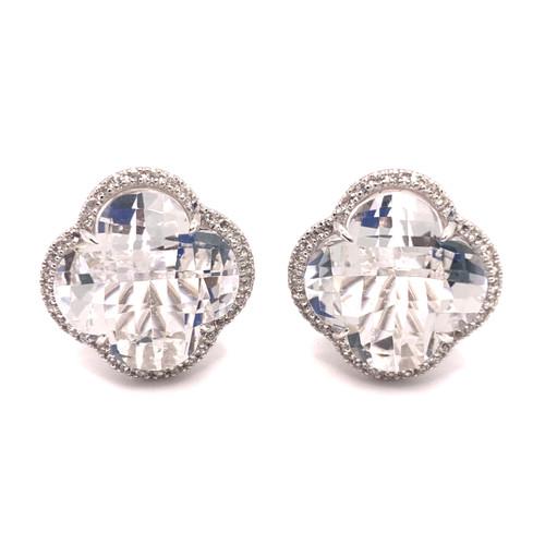 Clover Clear Quartz Halo Button Earrings