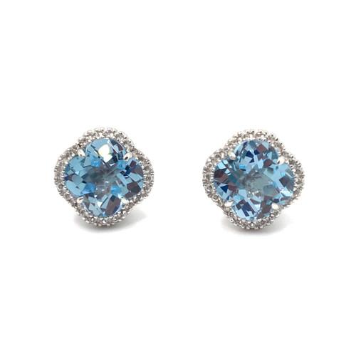 Clover Blue Topaz Halo Stud Earrings