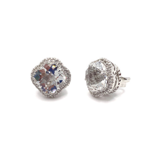Clover Clear Quartz Halo Stud Earrings