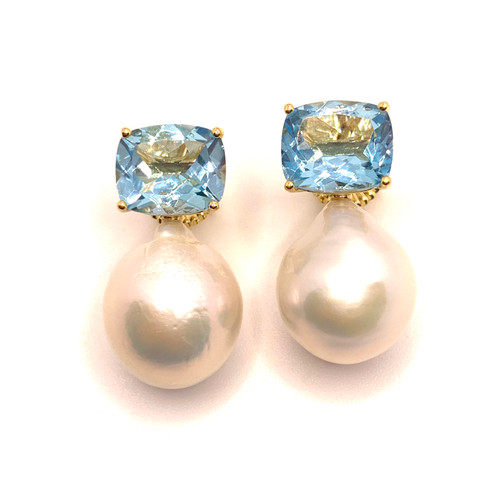 Cushion-cut Blue Topaz and White Baroque Pearl Drop Vermeil Earrings