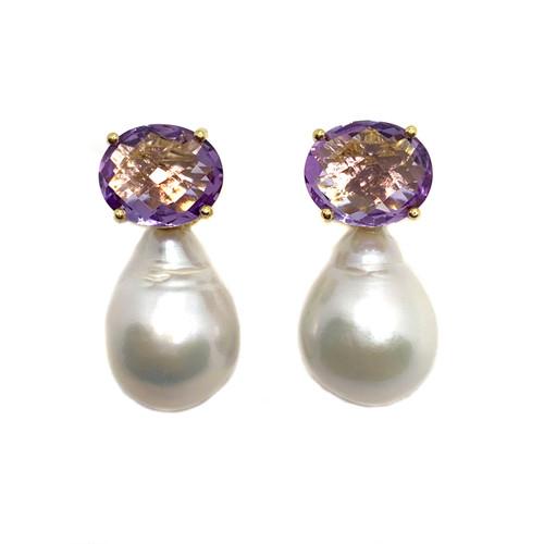 Oval Briolette-cut  Amethyst and White Baroque Pearl Drop Vermeil Earrings