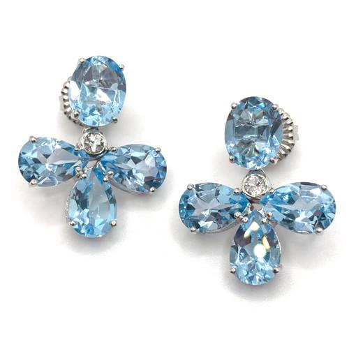 Triple Pear-shape Blue Topaz Drop Earrings