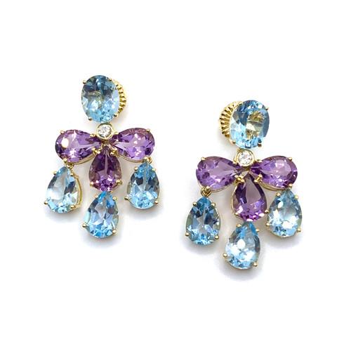 Triple Pear-shape Blue Topaz & Amethyst Chandelier Earrings