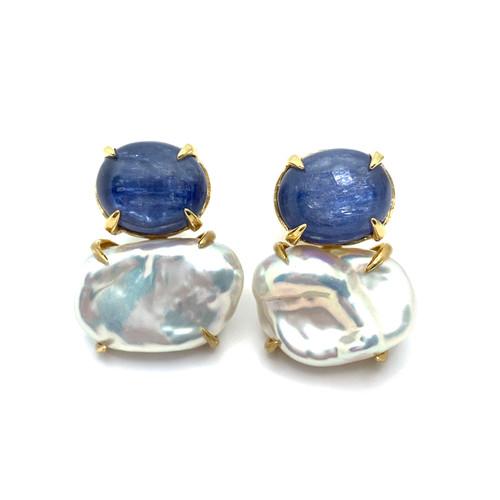 Oval Kyanite and Cultured Keishi Pearl Vermeil Earrings