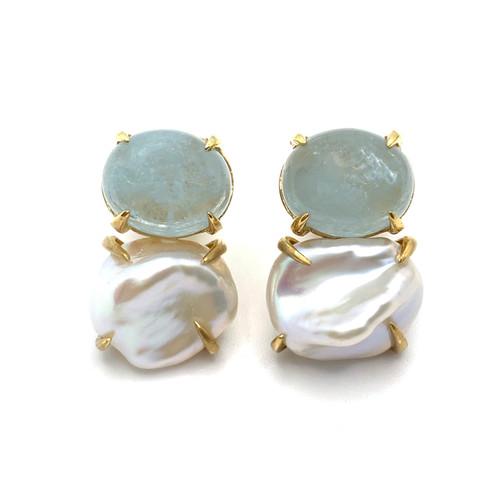 Oval Aquamarine and Cultured Keishi Pearl Vermeil Earrings