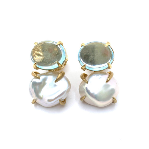 Oval Cabochon-cut Blue Topaz and Cultured Keishi Pearl Vermeil Earrings