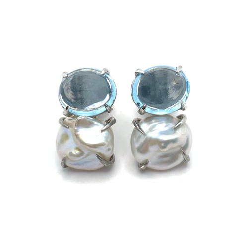 Oval Cabochon-cut Blue Topaz and Cultured Keishi Pearl Earrings