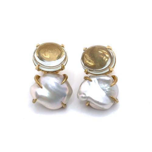Oval Cabochon-cut Green Amethyst and Cultured Keishi Pearl Vermeil Earrings