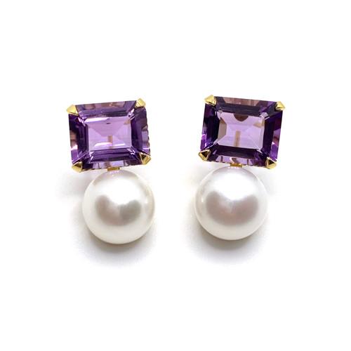Emerald-cut Amethyst and Cultured Pearl Earrings