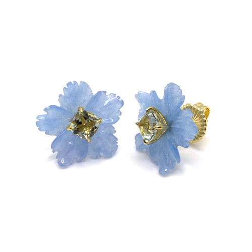 18mm Carved Blue Quartzite Flower with Cushion Green Amethyst Button Earrings