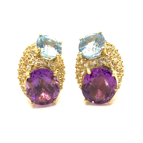 Double Oval Blue Topaz, Amethyst and Pave White Topaz Vermeil Earrings