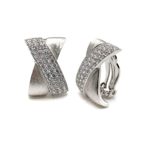Pave X Clip-on Earrings