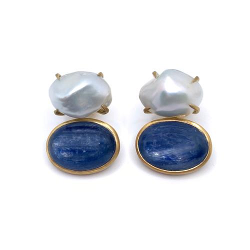 Cultured Keishi Pearl and Cabochon Oval Kyanite Drop Vermeil Earrings