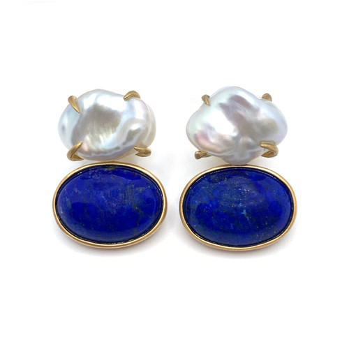 Cultured Keishi Pearl and Cabochon Oval Lapis Lazuli Drop Vermeil Earrings