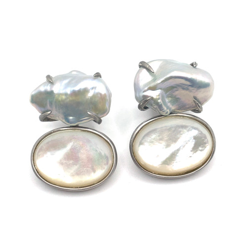 Cultured Keishi Pearl and Cabochon Oval Mother of Pearl Drop Earrings