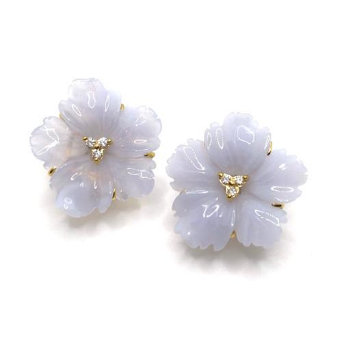 24mm Carved Chalcedony Flower Vermeil Earrings